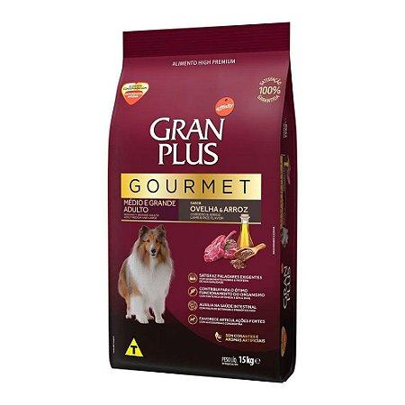 Gran Plus Gourmet para Cães Adultos de Médio e Grande Porte sabor Ovelha e Arroz 15kg