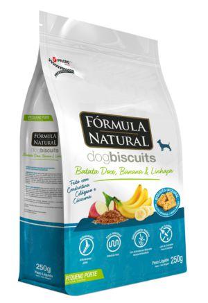 Biscoito para Cães Fórmula Natural Batata Doce, Banana e Linhaça Pequeno Porte 250g