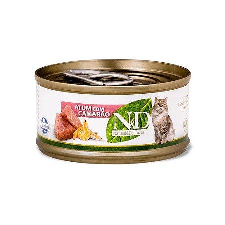 N&D para Gatos sabor Atum com Camarão 70g