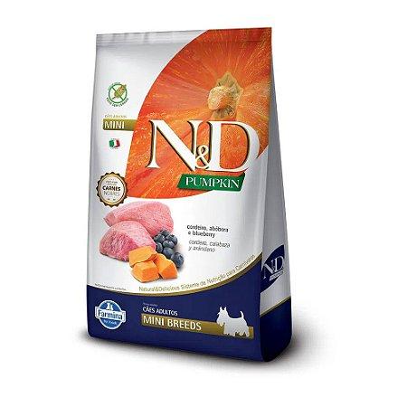 N&D Pumpkins Mini Breeds para Cães Adultos sabor Cordeiro, Abobora e Blueberry 800g