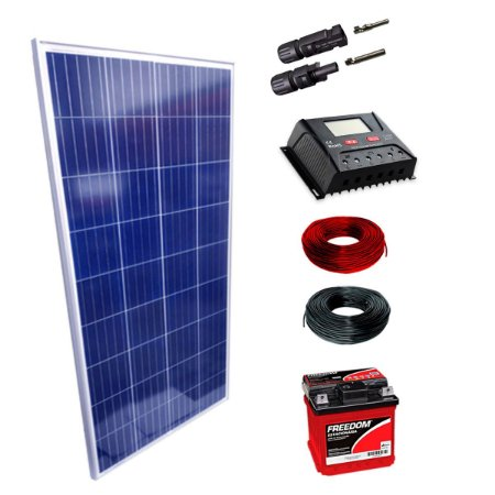 150Wp - Kit Placa Solar 150W, Controlador de Carga 30A c/ LCD, Bateria Estacionária 70Ah, 10m Cabo Solar e MC4