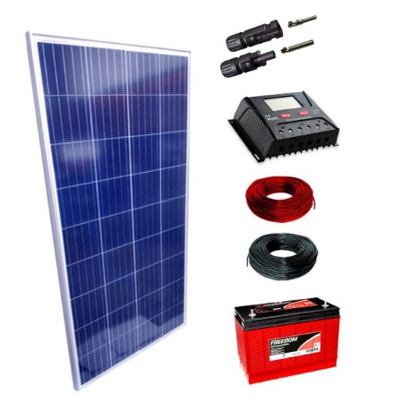150Wp - Kit Placa Solar 150W, Controlador de Carga 30A c/ LCD, Bateria Estacionária 115Ah, 10m Cabo Solar e MC4
