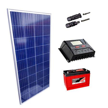 150Wp - Kit Placa Solar 150W, Controlador de Carga 30A c/ LCD, Bateria Estacionária 115Ah e MC4