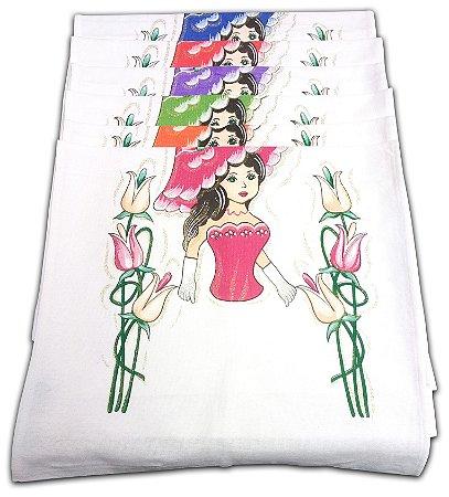 Pano Bainha Estampado Boneca com Glitter para fazer Saia de Crochê 45x72cm 100% Algodão