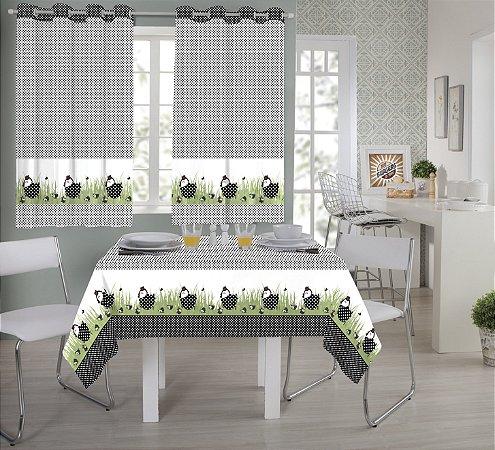Cortina em Tecido de Cozinha com Ilhoses Realce Premium - Sultan