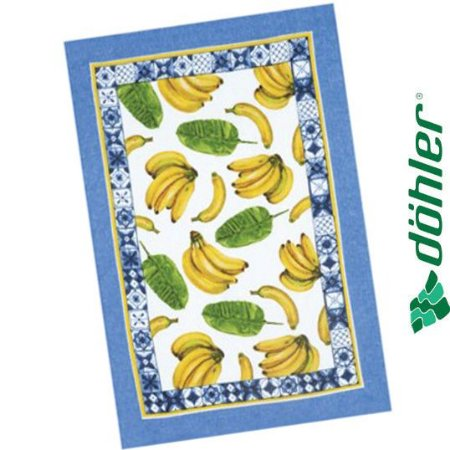 Pano de Copa Felpudo Döhler Prata Frutas I Cor Azul 45x65cm