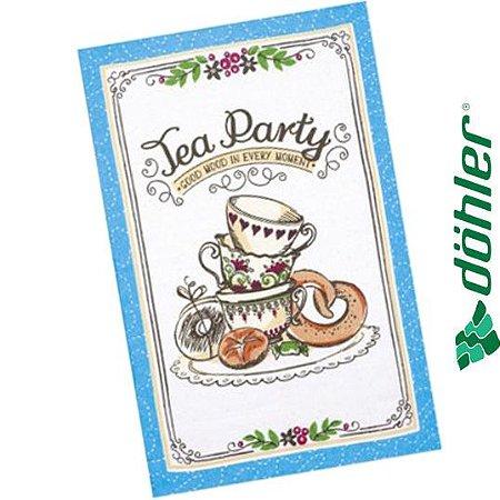 Pano de Copa Felpudo Döhler Prata Tea Sweets Cor Azul 45x65cm