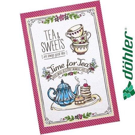 Pano de Copa Felpudo Döhler Prata Tea Sweets Cor Pink 45x65cm
