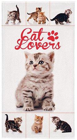 Toalha de Banho para Praia Aveludada Transfer 0,75x1,40m Cat Lovers- Lepper