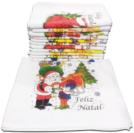 Pano de Prato Itatex A com Bainha Estampado Natal 100% Algodão 45x75cm