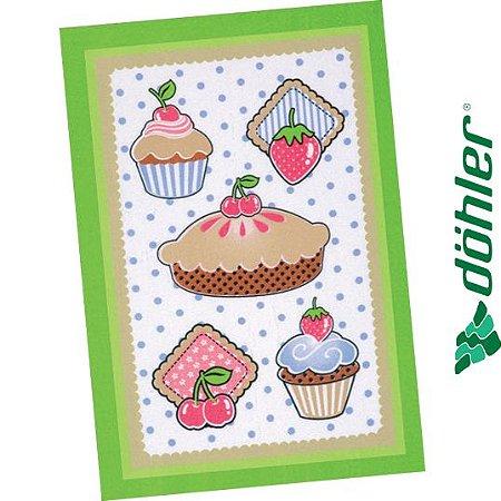 Pano de Copa Felpudo Dohler Prata Sweet Cakes Cor Verde 45x65cm
