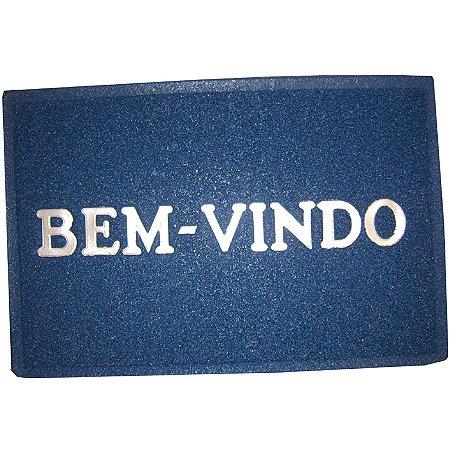 Tapete de Vinil Bem Vindo Cor Azul 40x60cm