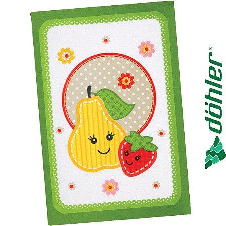 Pano de Copa Felpudo Dohler Prata Fruits Fun Cor Verde 45x65cm