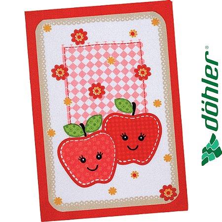 Pano de Copa Felpudo Dohler Prata Fruits Fun Cor Vermelho 45x65cm