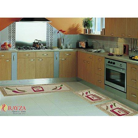 Jogo de Cozinha Coleçao Sisal Look Tapetes Rayza Modelo Pimenta 03 Peças