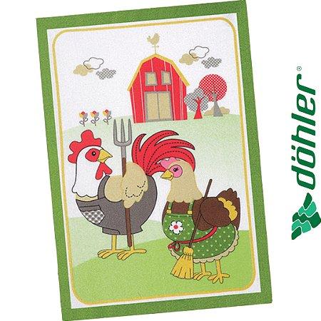 Pano de Copa Felpudo Dohler Prata Country Chicken Cor Verde 45x65cm