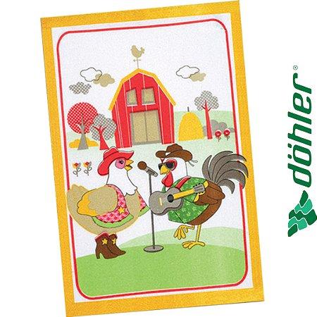 Pano de Copa Felpudo Dohler Prata Country Chicken Cor Amarelo 45x65cm