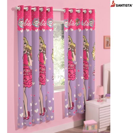 Cortina Infantil Decorativa Barbie Heart 1,80x2,00m - Santista