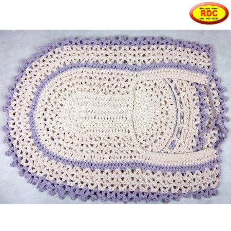 Jogo de Banheiro de Crochê Cru com detalhe Cor Lilás - 03 Peças