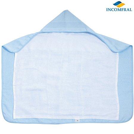 Toalha de Banho com Forro/ Capuz e Etamine p/ Bordar Cor azul - Incomfral