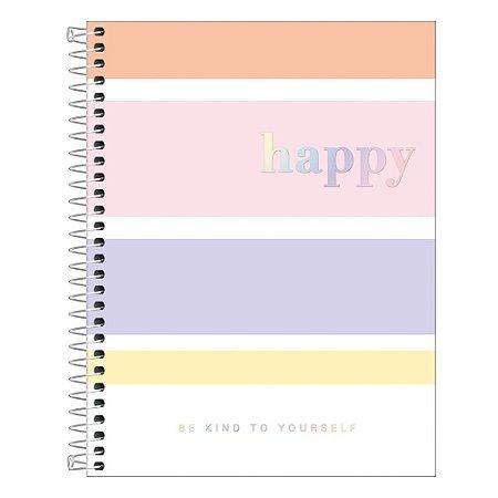 Caderno Espiral Capa Dura Colegial 1 Matéria Happy Colorido 80 Folhas Tilibra