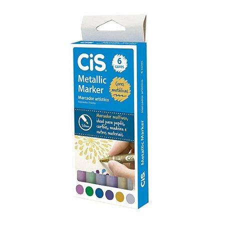 CIS METALLIC MARKER 1,0MM ESTOJO C/6 CORES