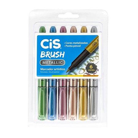 Brush Pen Metallic 6 Cores Cis