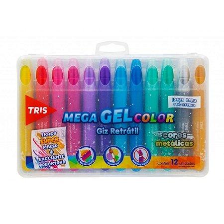 Giz Retrátil Mega GEL Color Tris 12 Cores Metálicas