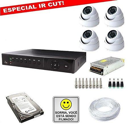 KIT ESPECIAL IR CUT DVR STAND ALONE P2P/NUVEM + CÂMERAS IR CUT + FONTES + CONECTORES + HD + CABO