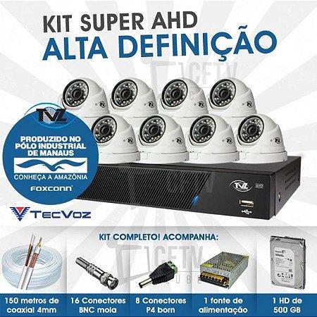 KIT DOME SUPER AHD ALTA DEFINIÇÃO 8 CANAIS COM 8 CÂMERAS TECVOZ TVZ COMPLETO