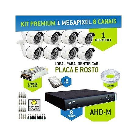 KIT PREMIUM AHD-M COM 8 CANAIS - ALTA DEFINIÇÃO EM 1 MEGAPIXEL