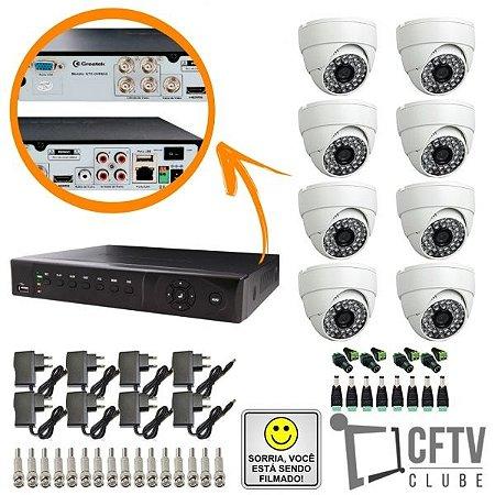 KIT DVR STAND ALONE 8 CANAIS - P2P/NUVEM + 8 CÂMERAS INFRAVERMELHO + FONTES + CONECTORES