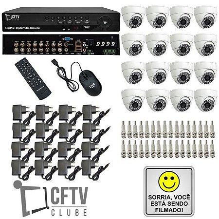 KIT DVR STAND ALONE16 CANAIS - P2P/NUVEM + 16 CÂMERAS INFRAVERMELHO + FONTES + CONECTORES