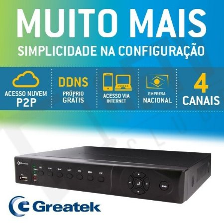 DVR GREATEK HÍBRIDO WD1 960H+IP 4 CANAIS P2P