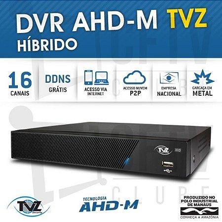 DVR STAND ALONE 16 CANAIS TECVOZ TVZ AHD-M HÍBRIDO 3 EM 1