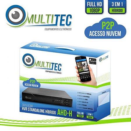 GRAVADOR FULL HD - 1080p - 32 CANAIS MULTITEC AHD-H HÍBRIDO 3 EM 1