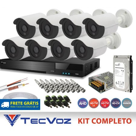 KIT FLEX HD TECVOZ 8 CANAIS COM 8 CÂMERAS 5 EM 1 COMPLETO