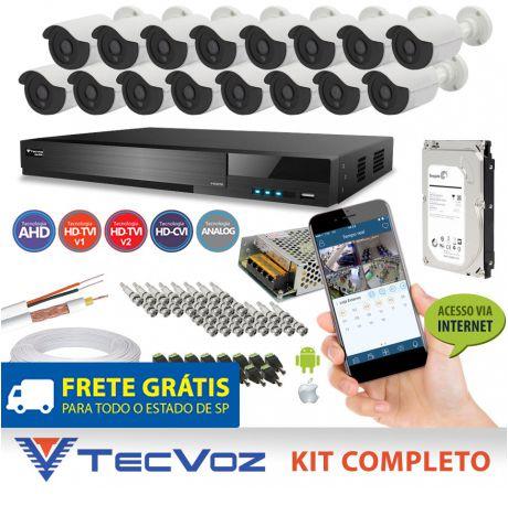 KIT FLEX HD TECVOZ 16 CANAIS COM 16 CÂMERAS 4 EM 1 COMPLETO