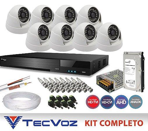 KIT FLEX HD TECVOZ 8 CANAIS COM 8 DOME CÂMERAS 5 EM 1 COMPLETO
