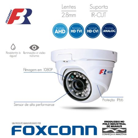 Câmera FBR Focusbras Dome Flex HD FS-MDF2M Full HD (2.0MP | 1080p | 2.8mm | Metal)