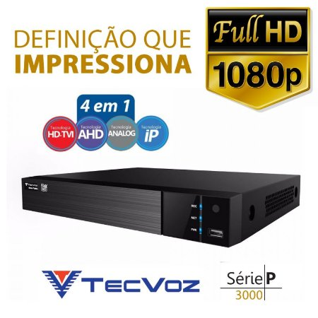 DVR Stand Alone Digital Tecvoz 32 Canais Flex Full HD + 4 canais IP 4 megapixels TW-P3032