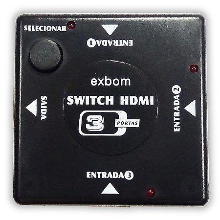 Switch HDMI Full HD 3D Digital (3 Entradas x 1 Saída)