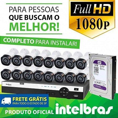 KIT FULL HD INTELBRAS 16 CANAIS - 1080P - COMPLETO