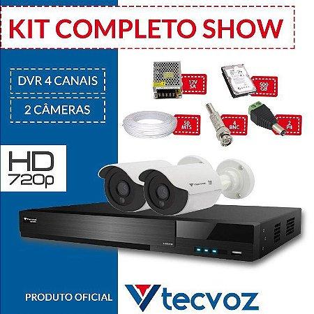 75fa2088f Kit Tecvoz Completo em Alta Definição - 2 câmeras HD - CFTV ...