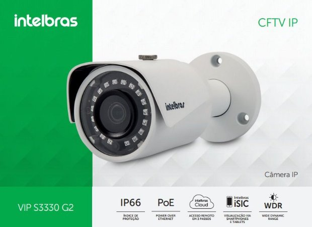 Câmera Intelbras Bullet Onvif IP VIP S3330 G2 Super HD ( 3.0MP | 1536p | 3.6mm | Metal )