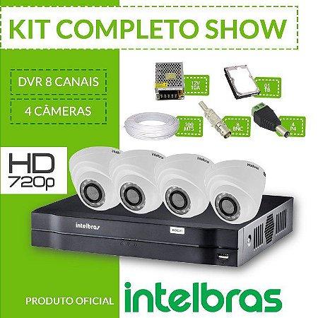 Kit Intelbras completo alta definição - DVR 8 canais c/ 4 câmeras internas - HD