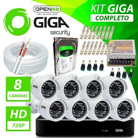 Kit Completo de Monitoramento com 8 Câmeras Open HD Giga Security