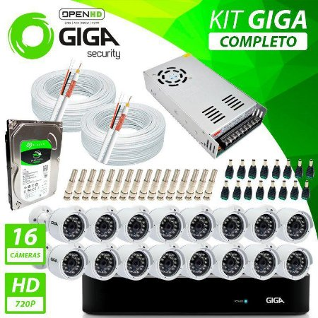 Kit Completo de Monitoramento com 16 Câmeras Open HD Giga Security