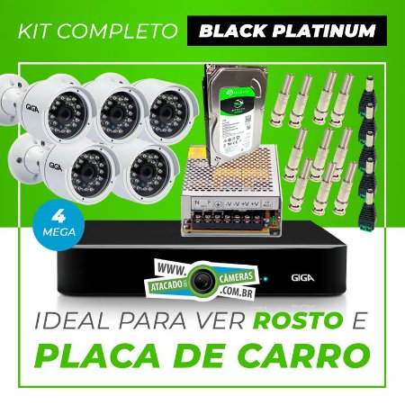 Kit Completo de Monitoramento CFTV com 5 Câmeras Open HD 4 Mega Giga Security Black Platinum