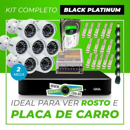 Kit Completo de Monitoramento CFTV com 7 Câmeras Open HD 4 Mega Giga Security Black Platinum
